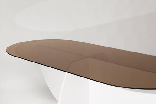 Aurora Dining Table, White Mosaic &  Bronze Glass