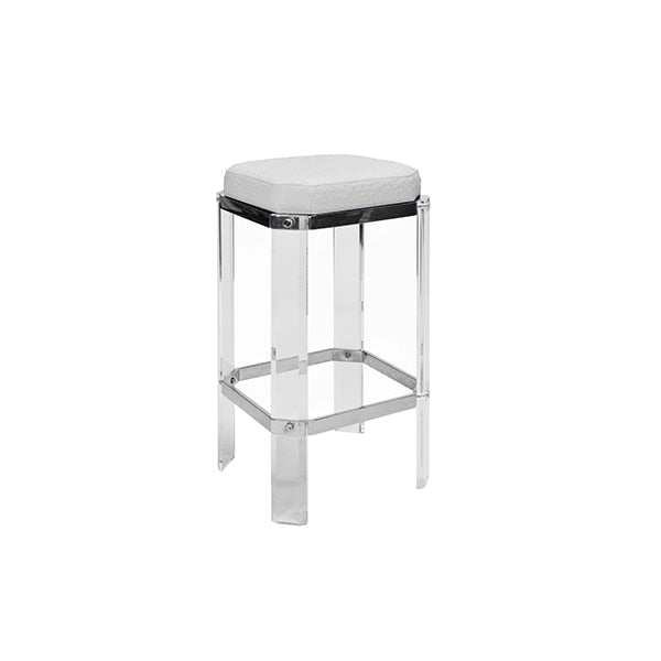 Worlds Away Dorsey Acrylic Stool, White Ostrich