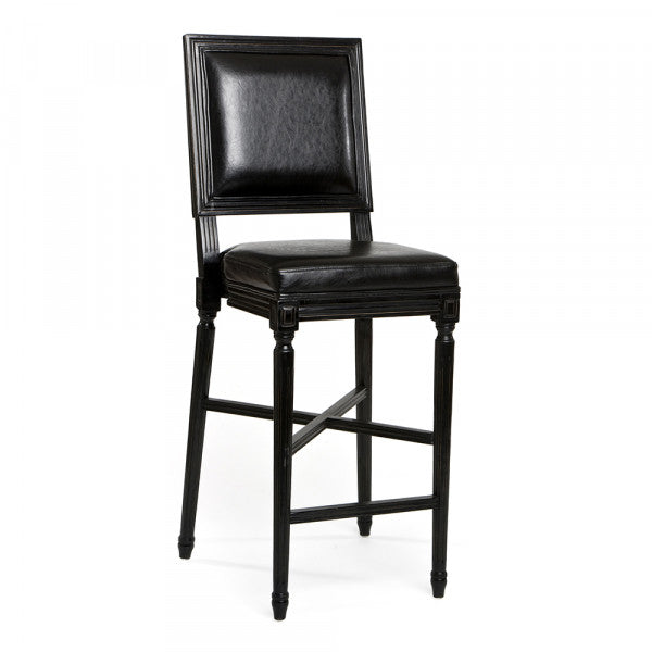 Zentique French Bar Stool Black Leather