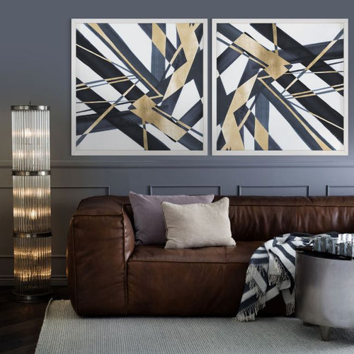 Natural Curiosities Gold and Navy Abstract Lines A