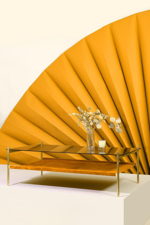 Duotone Rectangular Coffee Table - Brass Frame / Smoked Glass / Saffron Suede