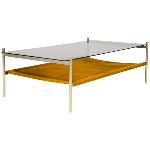 Duotone Rectangular Coffee Table,  Brass & Suede