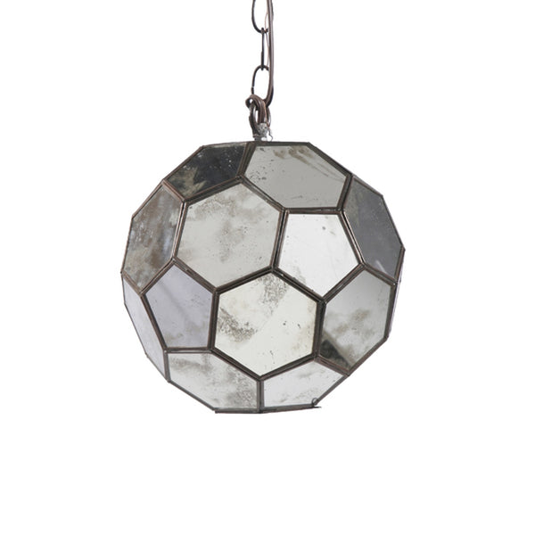 Worlds Away Antique Mirror Pendant Light, 9""
