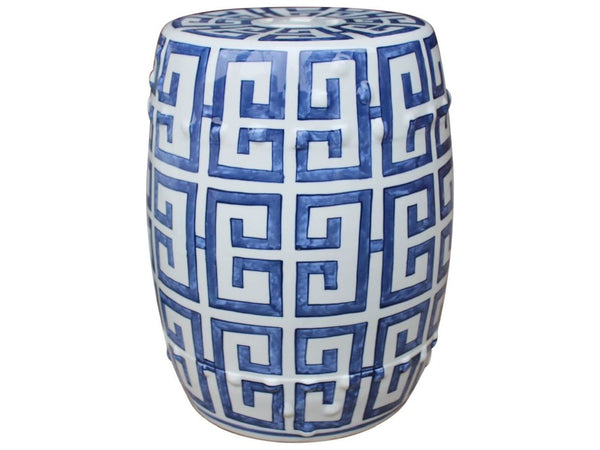 Blue and White Greek Key Porcelain Garden Stool Blue