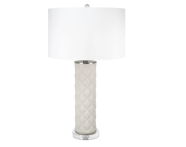 Lenora Light Gray Geometric Ceramic Lamp by Couture
