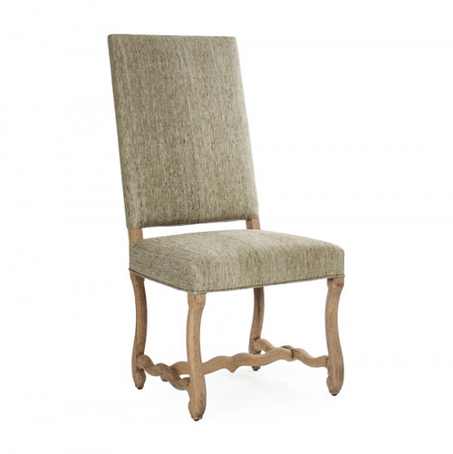 Zentique Freija Dining Chair Dry Natural Finish, Olive Green Raw Silk