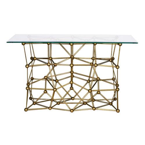 Worlds Away Molecule Console Table With Glass Top