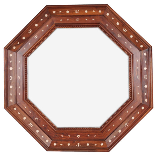 Rosewood and Bone Octagonal Mirror by Michael S. Smith for Mirror Image