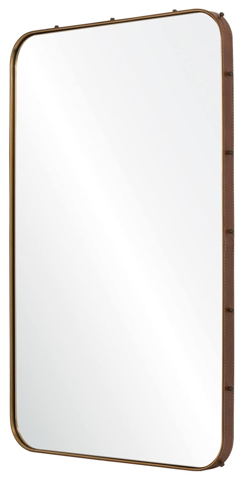 Michael S. Smith for Mirror Image Leather Stud Wall Mirror, Antique Bronze