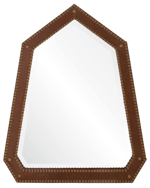Michael S Smith for Mirror Image Leather Nailhead Wall Mirror, Brown
