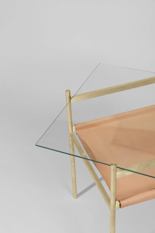 Duotone Diamond Side Table, Brass & Natural Leather