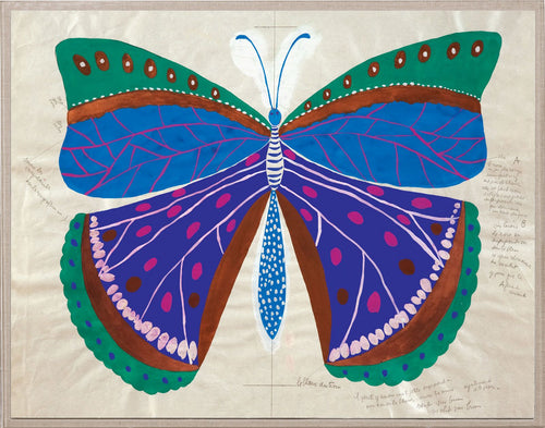 Paule Marrot Butterfly Blue Artwork, Acrylic Frame