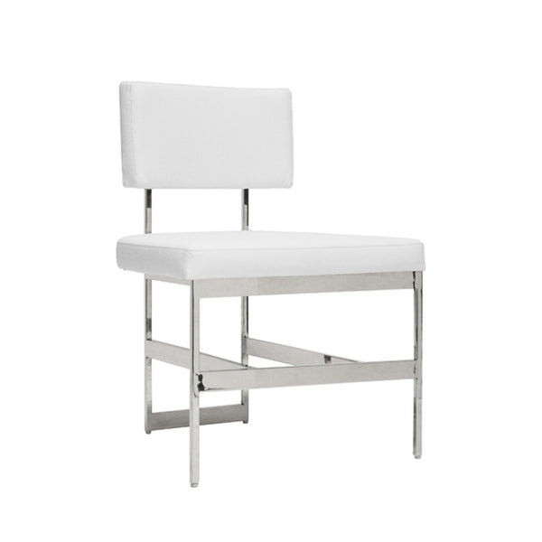 Worlds Away Shaw Dining Chair, White Luxury Vinyl