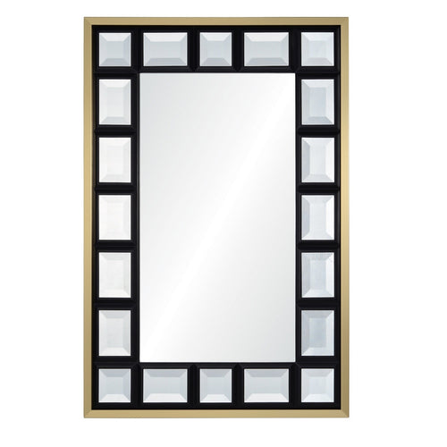 Suzanne Kasler for Mirror Image Home, Satin Brass & Black Jeweled Wall Mirror
