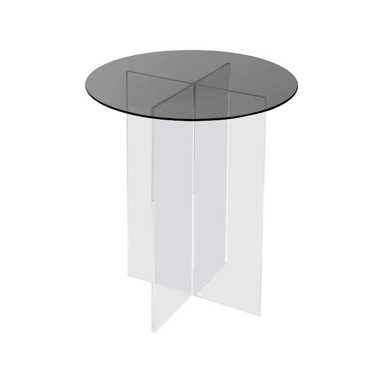 Section Side Table, Smoked Glass on Clear Acrylic