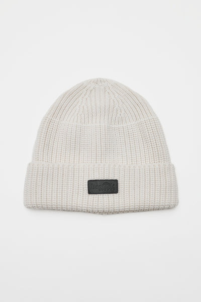 Beanie - Leather Patch/WHITE/BGA-C06