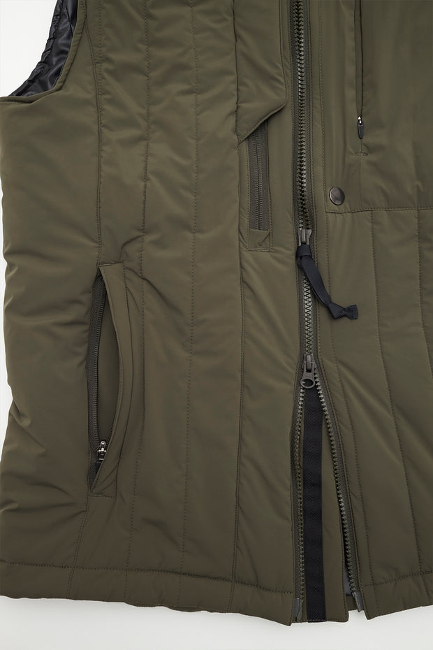 Full Zip Quilted Vest/OLIVE