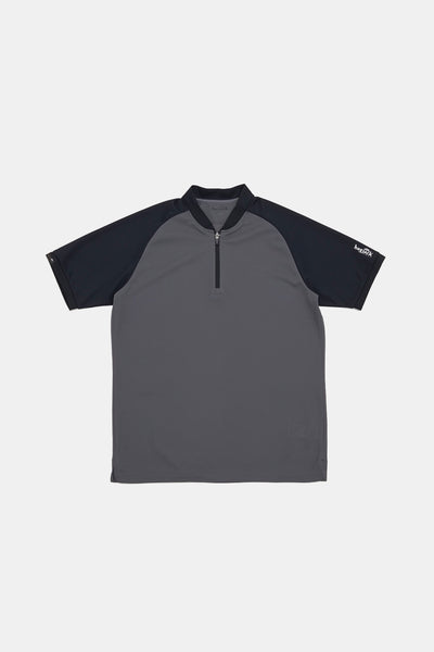 S/S Zip Polo/DARK GRAYxBLACK/BGW-K38
