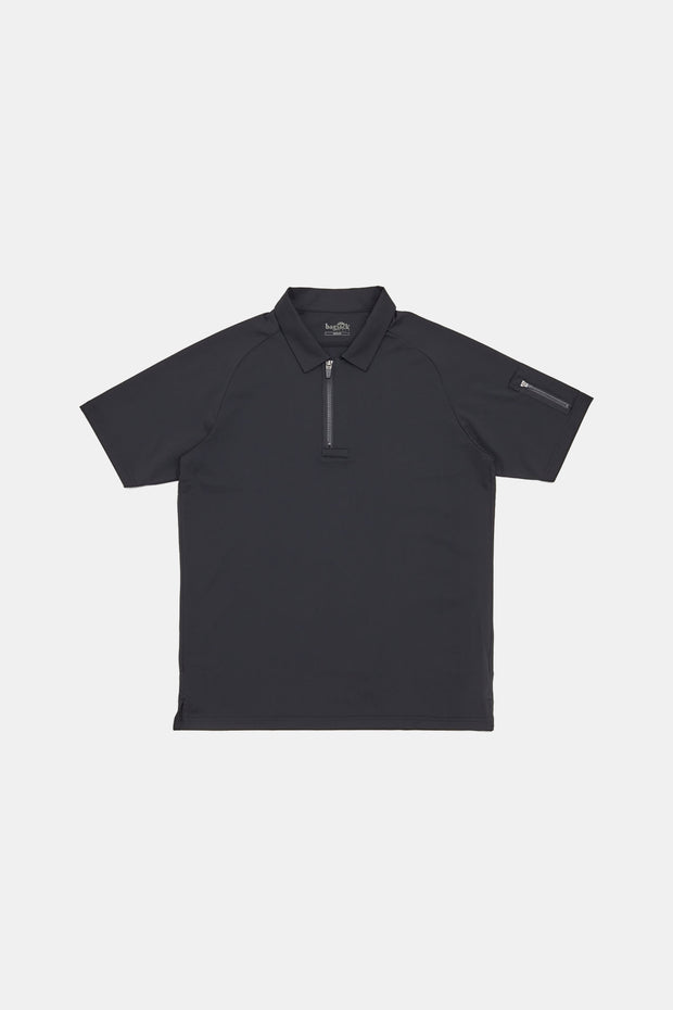 S/S Vis Zip Polo/BLACK/BGW-K33
