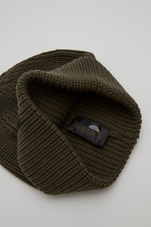 Beanie - Leather Patch/OLIVE/BGA-C06
