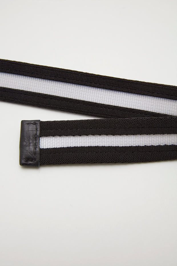 Double O - Ring Belt/BLK×WHT/BGA-B05