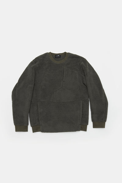 L/S 2 Side Sheep Boa Crew/OLIVE/BGW-K07