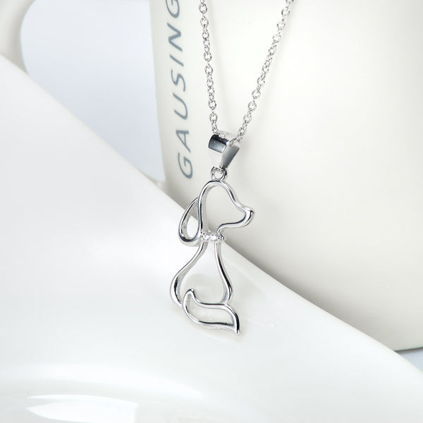 Puppy Pendant 925 Silver Necklace