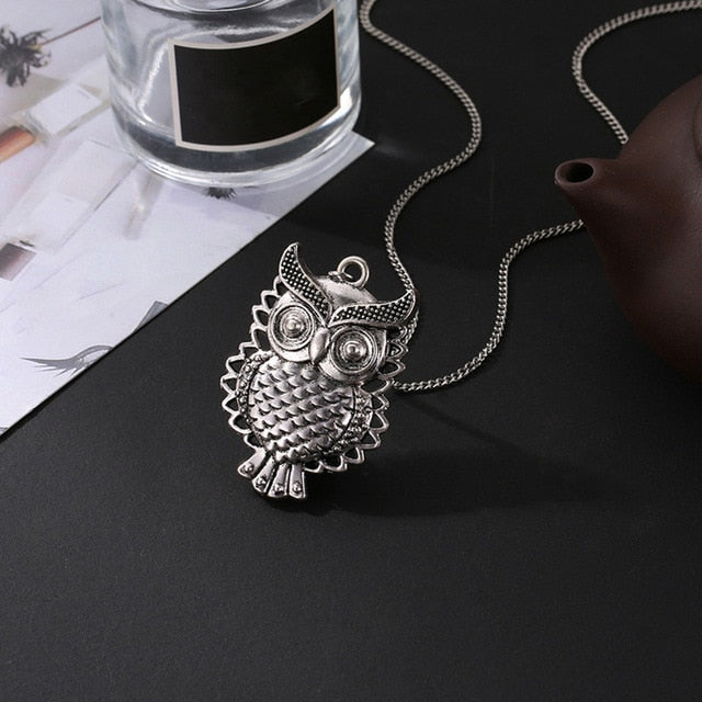 Choker Bronze Owl Pendant Necklace