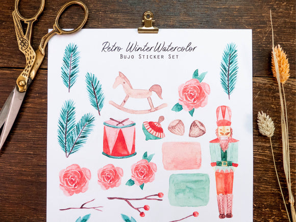 Premium Retro Winter Watercolor (BuJo Sticker Set)
