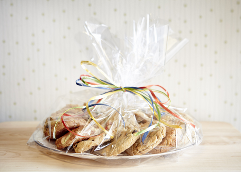 Clear Platter with 3 Dozen Cookies in Cellophane Wrap