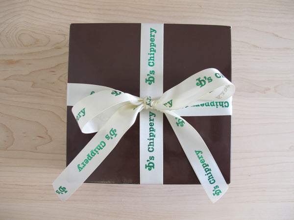 JD's Chocolate Brown Box with Ivory JD's Ribbon and 12 Cookies