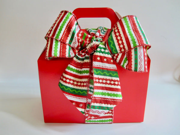 Red Gable Box with Festive Bow, 12 Cookies