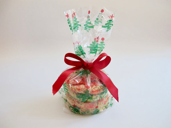Cellophane Bag with Red Satin Ribbon, 3 Cookies