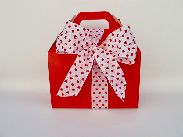 Red Gable Box with Heart Ribbon, 24 Cookies