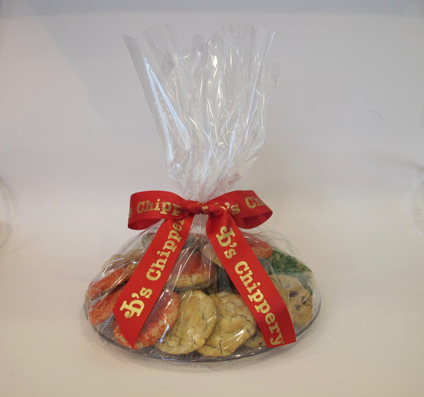 Clear Party Tray wrapped in Cellophane with 2 Dozen Cookies