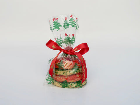 Cellophane Bag tied with Red Satin JD's Ribbon, 4 Cookies
