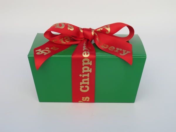Green Candy Box with Red Satin JD's Ribbon, 12 Cookies