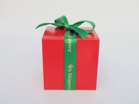 Red Square Box with Green Satin JD's Ribbon, 6 Cookies