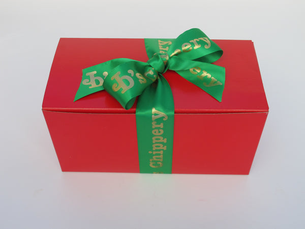 Rectangular Red Box with Green Satin JD's Ribbon, 18 Cookies