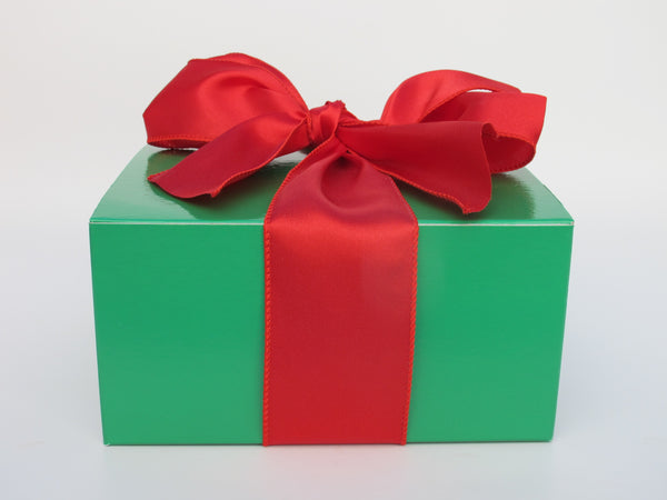 Green Laquered Box with Red Bow, 2 dozen cookies