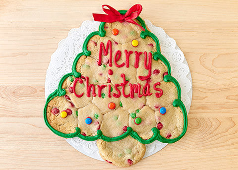 Christmas Tree Cookie Cake with Holiday Message (16 pieces)