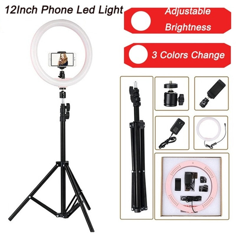 Ring Light 10inch 12W LED 1.6m Tripod Photo Dimmable Studio Camera Makeup Light Kit Youtube Video Live Video Light for iphone