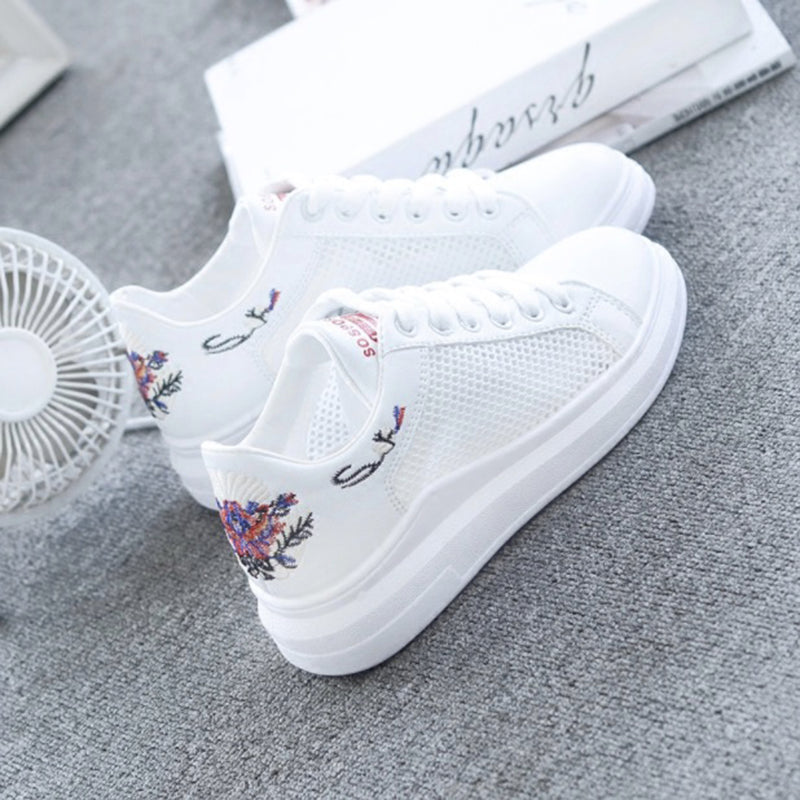 Embroidered Breathable Hollow Lace-Up Women Sneakers