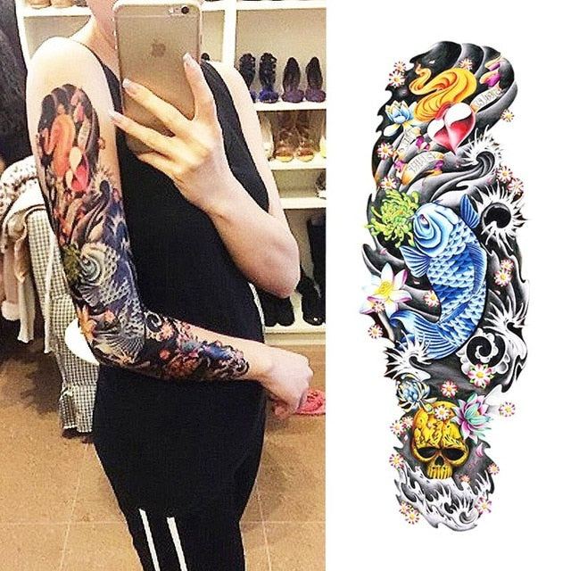 Full Arm Tattoo (Nun, Gloomy Girl, Blessing, Prayer, Beckham, Clock)