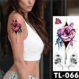 Half Arm Covering Tattoo (Dark Rose) (Women)