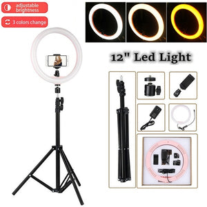 "Tycipy LED Ring Light 2700K-5500K 24W Photo Studio 12"" Light Photography Dimmable Video for Smartphone with Tripod Phone Holder"