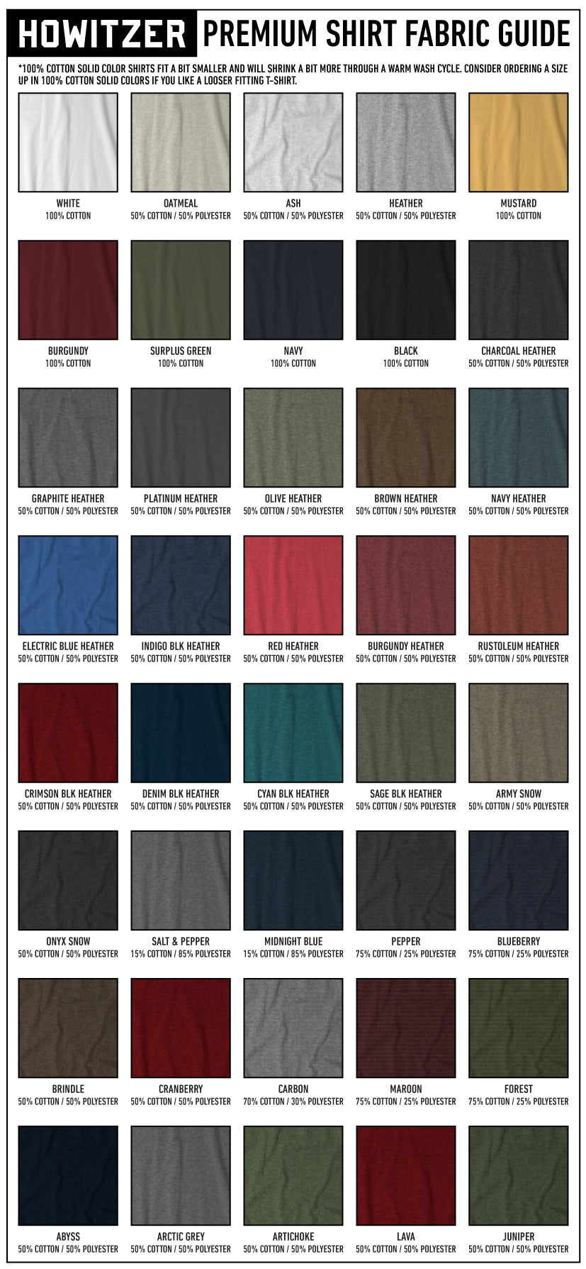 howitzer fabric guide on color blends and cotton or polyester composition