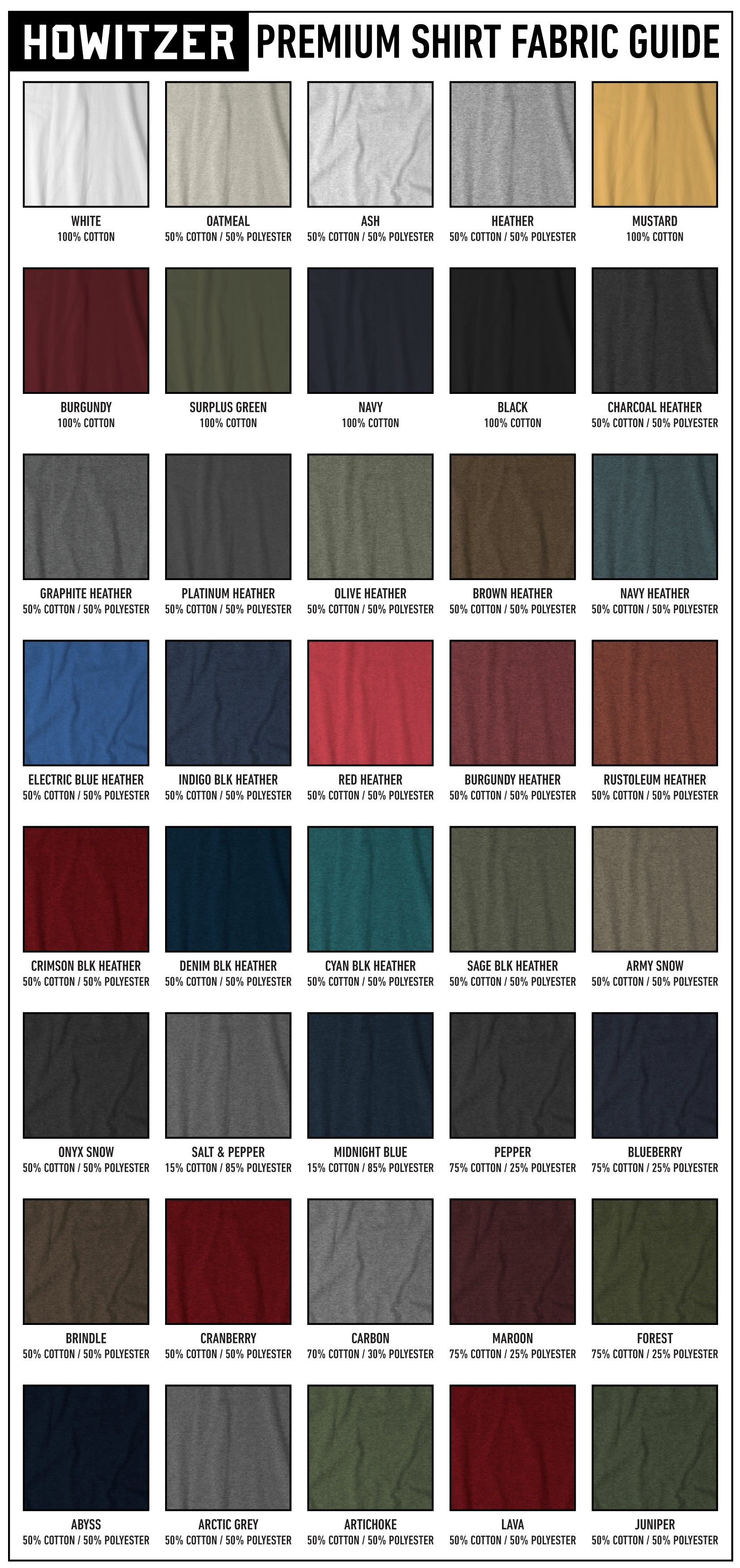 howitzer clothing fabric guide