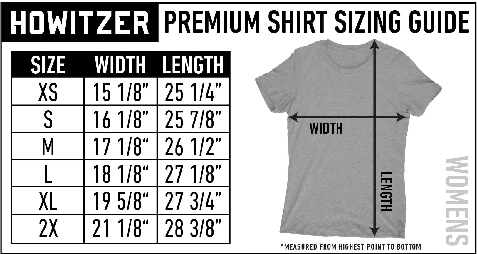 womens size guide standard tee