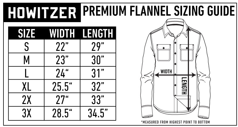 mens flannel shirts size chart